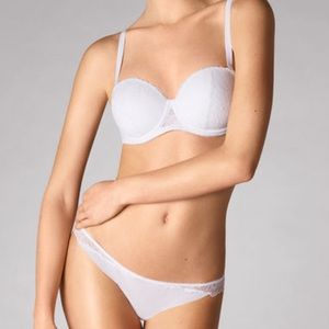Wolford White Stretch Lace Bandeau Bra